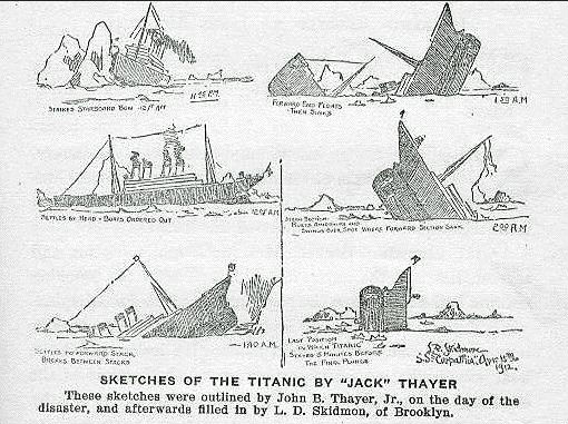 Jack Thayer's sketch of the sinking of the Titanic