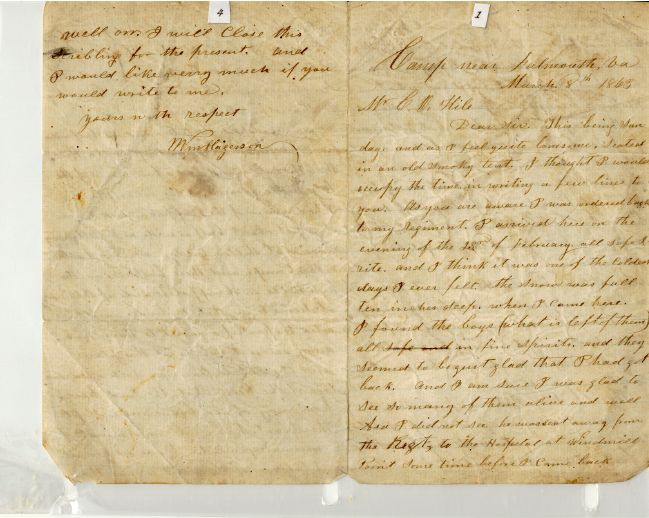 letter from Sgt. William Hagerson, pages 4 and 1