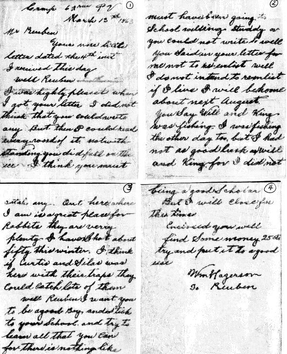 letter from Sgt. William Hagerson to Reuben